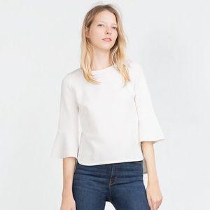 Zara White Textured Bell Sleeve Blouse